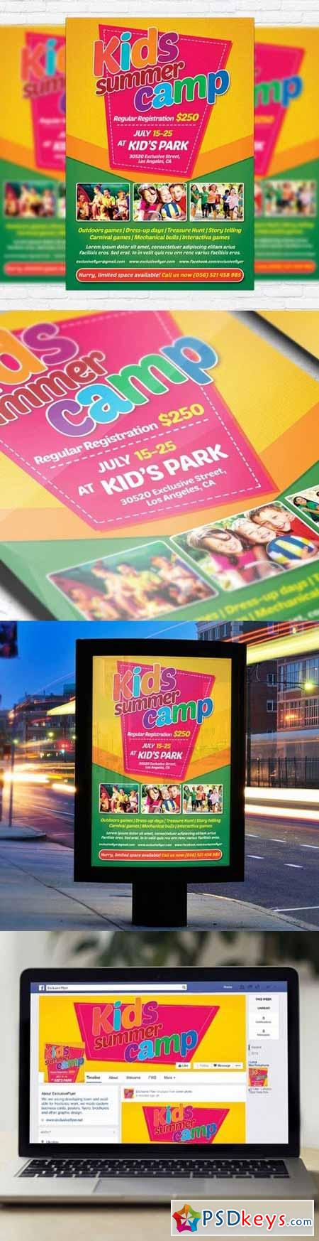 Kids Summer Camp Flyer Psd Template + Facebook Cover » Free