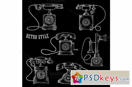 Retro rotary dial telephone icons 580970