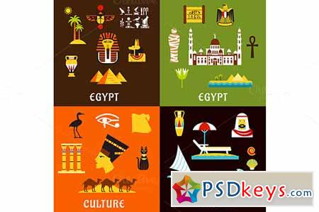 Egypt travel and culture flat icons 579453