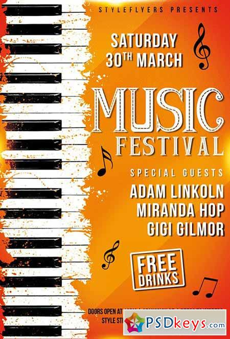 music festival psd flyer template   facebook cover  u00bb free