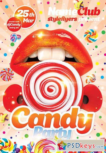 Candy Party PSD Flyer Template + Facebook Cover
