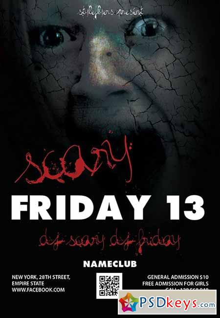 Scary Friday 13 Flyer PSD Template + Facebook Cover