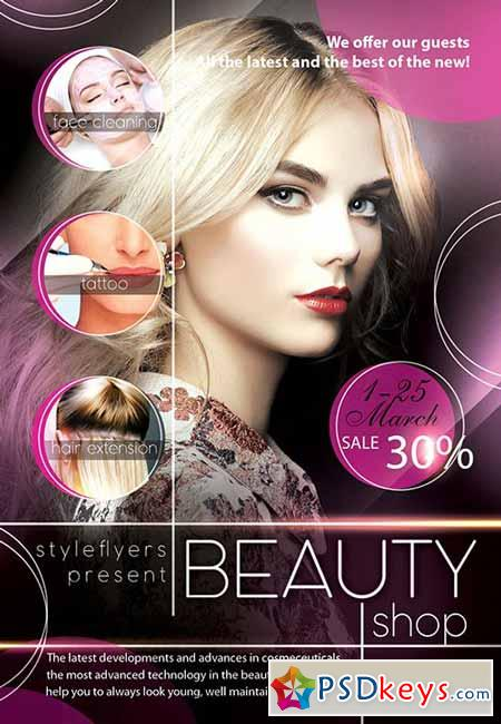 Beauty Shop PSD Flyer Template + Facebook Cover