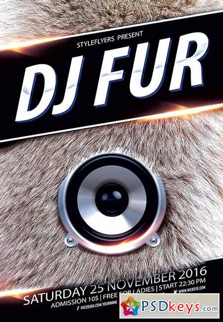 Dj Fur Party Flyer PSD Template + Facebook Cover