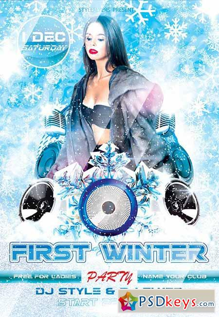 First Winter Party Flyer PSD Template + Facebook Cover