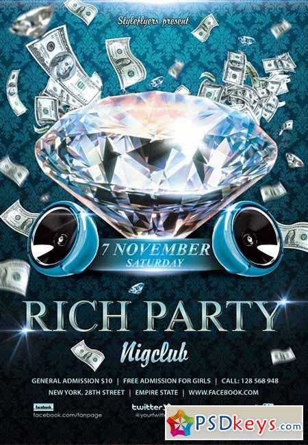Rich Party Flyer PSD Template + Facebook Cover
