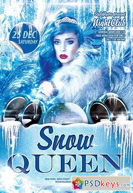 Snow Queen Party Flyer PSD Template + Facebook Cover