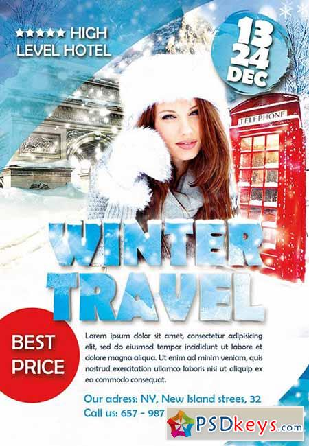Winter Travel Flyer PSD Template + Facebook Cover