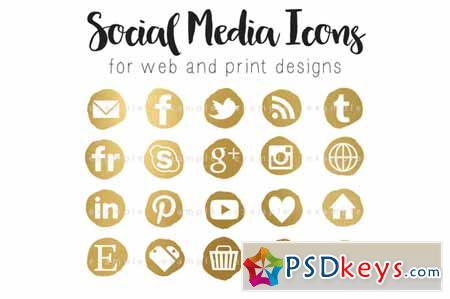 Social media icons gold nugget 583036 » Free Download Photoshop ...