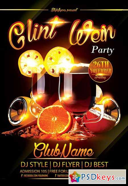 Glint Wein Party Flyer PSD Template + Facebook Cover