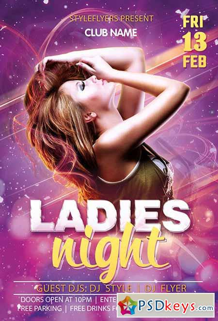 Ladies Night PSD Flyer Template + Facebook Cover