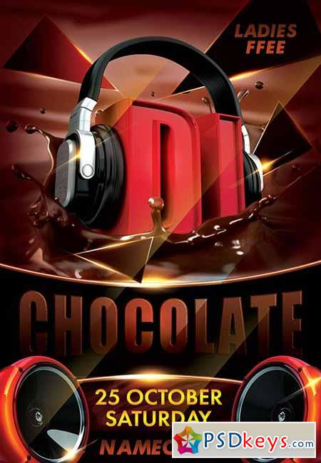 Dj Chocolate PSD Flyer Template + Facebook Cover