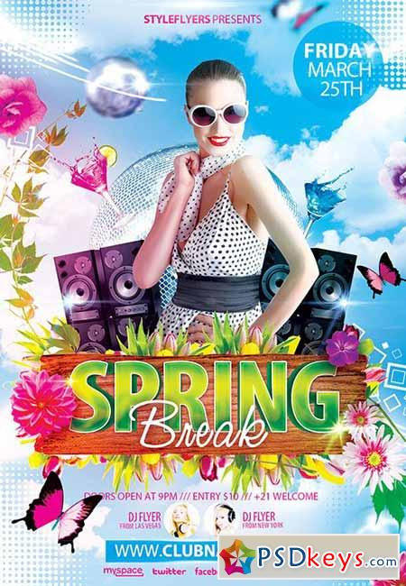 Spring Break Flyer Psd Template   Facebook Cover  U00bb Free