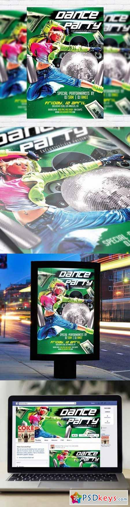 Dance Party Flyer PSD Template + Facebook Cover