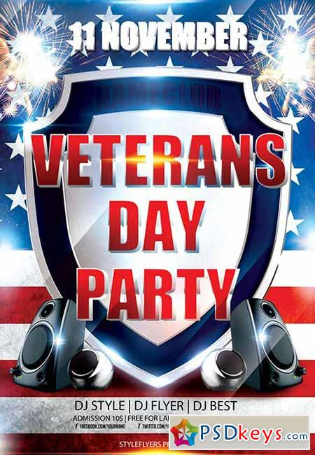 Veterans Day Party Flyer PSD Template + Facebook Cover