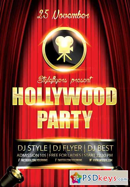 Hollywood Party Flyer PSD Template + Facebook Cover