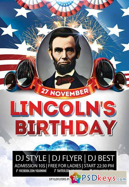 Lincoln's Birthday Party PSD Flyer Template + Facebook Cover