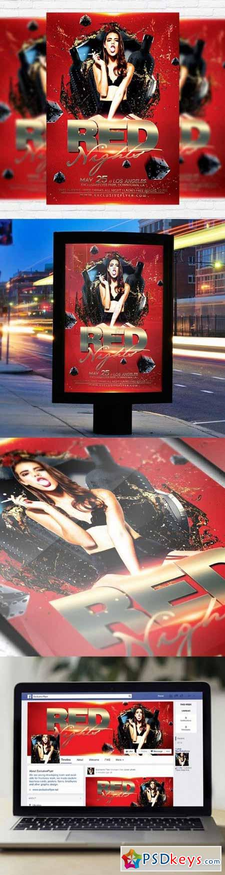 Red Night Flyer PSD Template + Facebook Cover
