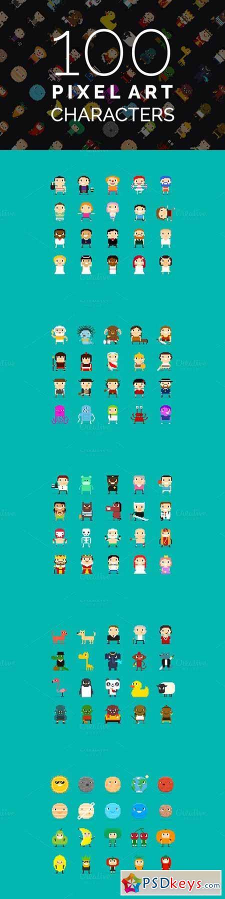 100 Pixel Art Characters - 2 590338