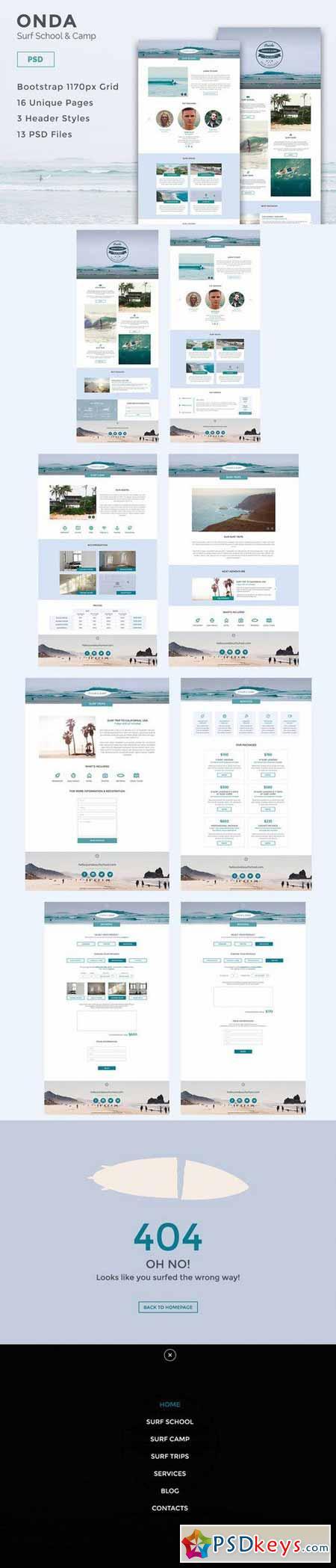Onda - Surf School PSD Template 582832