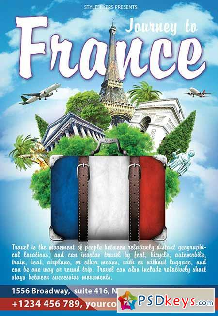 Journey to France PSD Flyer Template + Facebook Cover