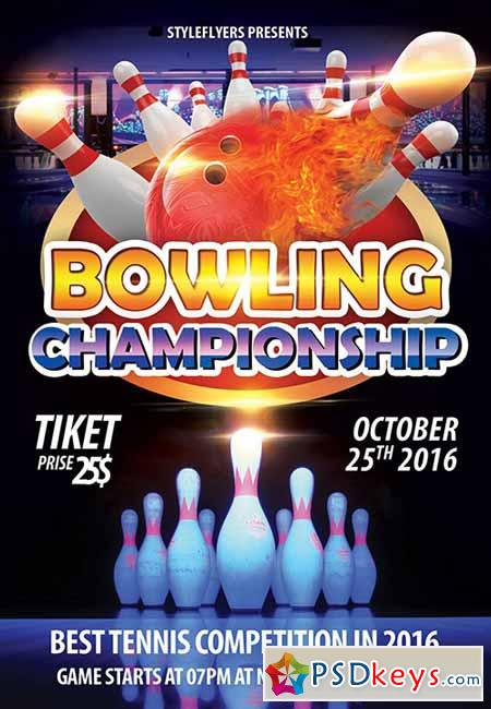 Bowling championship PSD Flyer Template + Facebook Cover