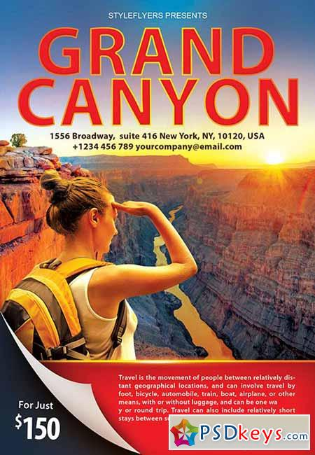 Grand Canyon Travel PSD Flyer Template + Facebook Cover
