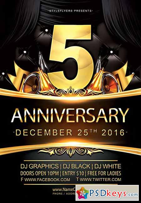Great Anniversary PSD Flyer Template + Facebook Cover