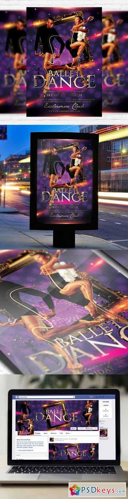 Ballet Dance Flyer PSD Template + Facebook Cover