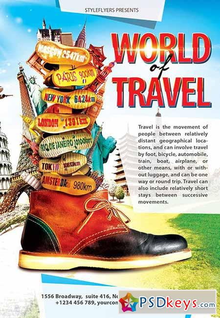 World of Travel PSD Flyer Template + Facebook Cover