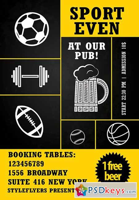 Sport Event at Our Pub PSD Flyer Template + Facebook Cover