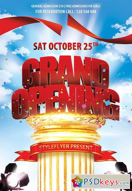 Grand Opening Psd Flyer Template + Facebook Cover » Free Download