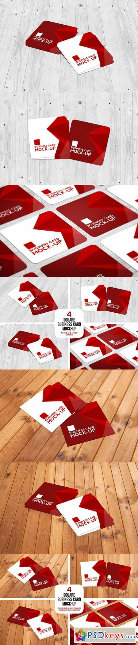 Square Business Card Mockup Set 594371