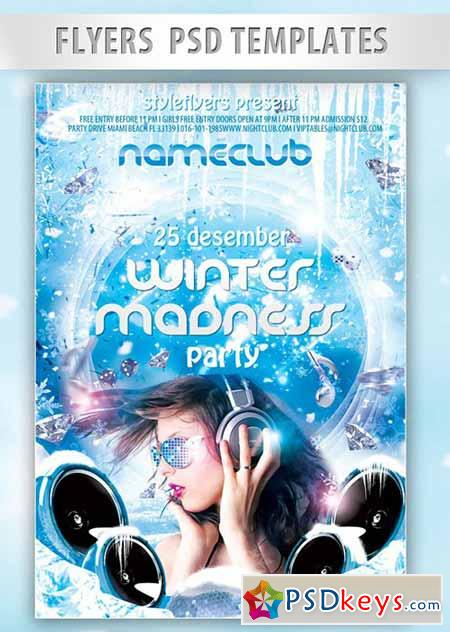 Winter Madness Party Flyer PSD Template + Facebook Cover
