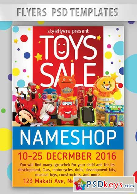 Toys Sale Flyer PSD Template + Facebook Cover