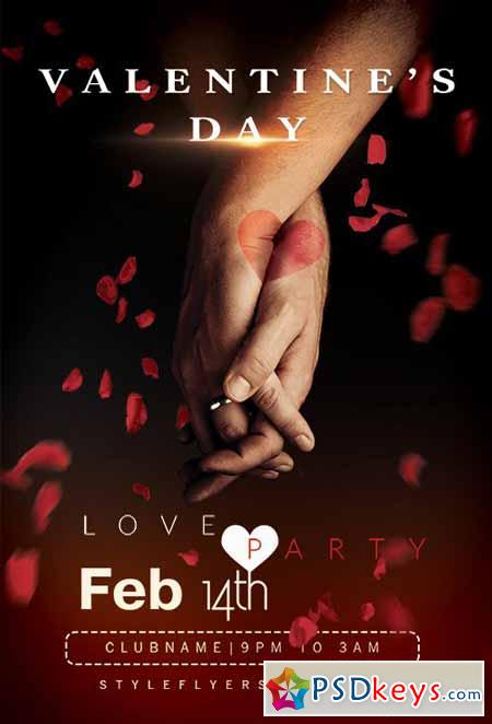 Love Party Flyer PSD Template + Facebook Cover
