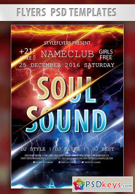Soul Sound Flyer PSD Template + Facebook Cover