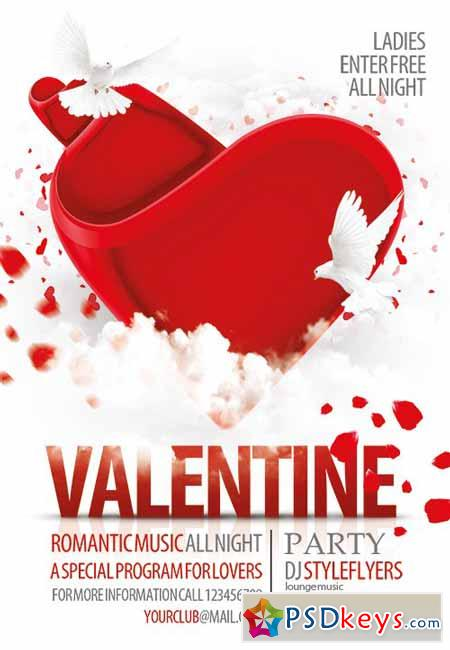 Valentine Party Flyer PSD Template + Facebook Cover