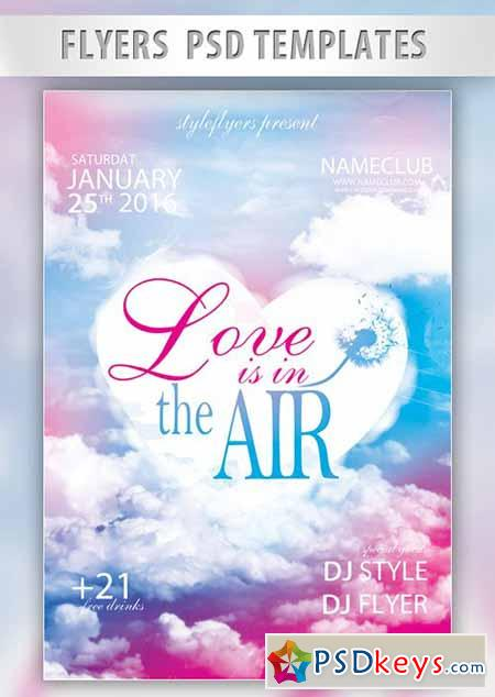 Love is in the Air Flyer PSD Template + Facebook Cover