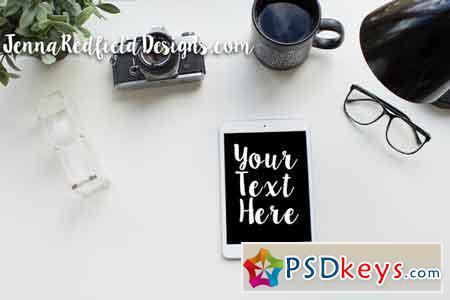 Black & Green Desk Scene iPad Mockup 596056