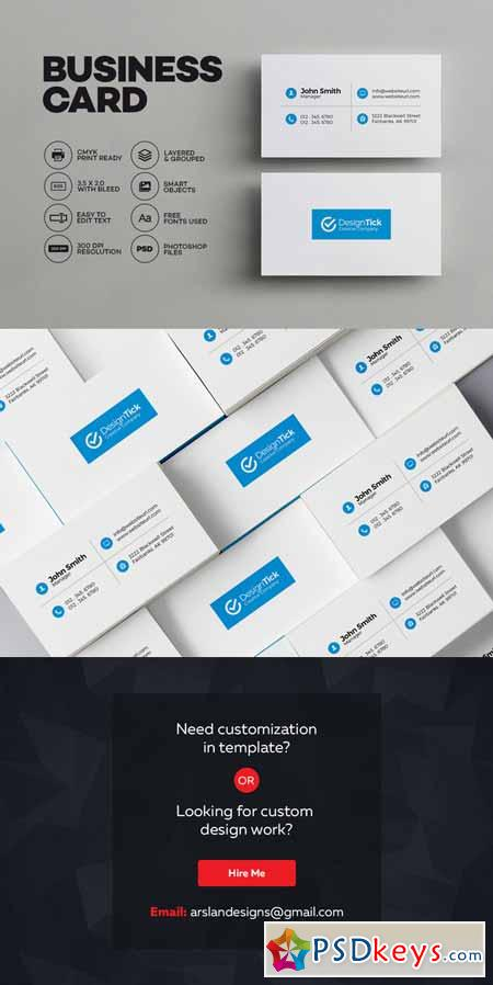 Simple Clean Business Card 595733