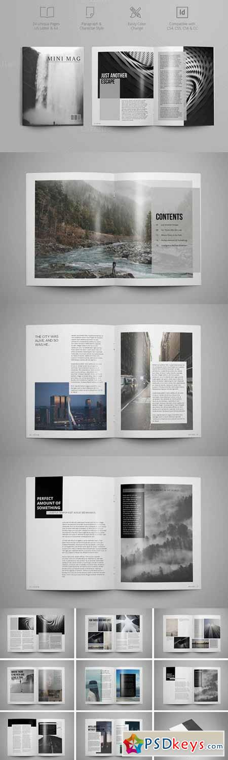 MINI MAG Magazine InDesign template 591118 » Free Download Photoshop ...