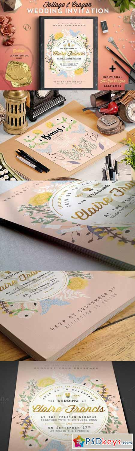 Foil&Crayon Wedding Invite II 603408
