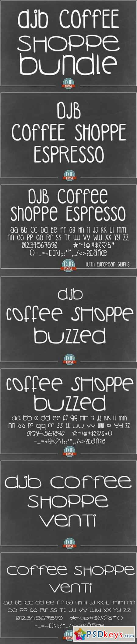 DJB Coffee Shoppe Fonts Bundle 589085