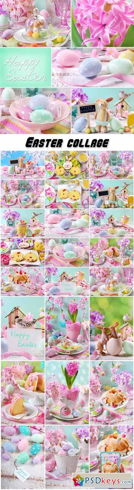 Easter collage, easter cake, easter eggs