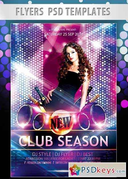 New Club Season Flyer PSD Template + Facebook Cover