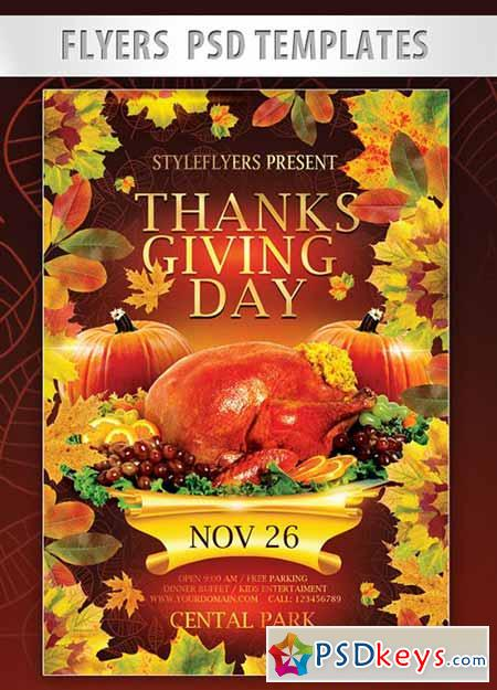 Thanksgiving Day Flyer PSD Template + Facebook Cover