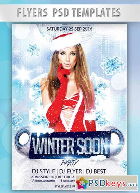 Winter Soon Party Flyer PSD Template + Facebook Cover