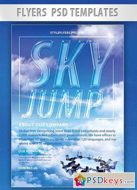 Sky Jump PSD Flyer PSD Template + Facebook Cover