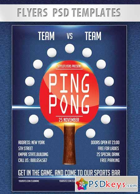 Ping Pong Flyer PSD Template + Facebook Cover